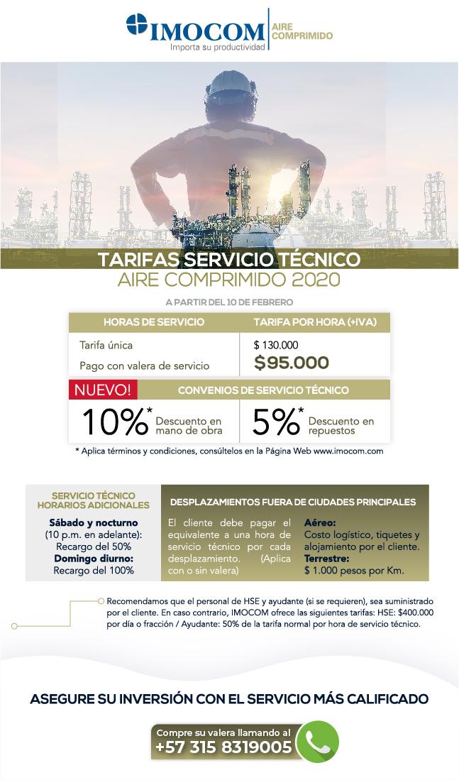 tarifas servicio tecnico aire comprimido IMOCOM