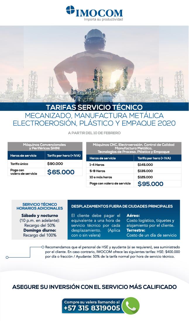 tarifas servicio tecnico IMOCOM